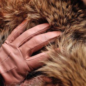 Fellkragen und Lederhandschuhe